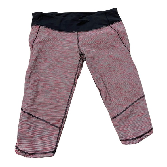 Lululemon Sz 10 Pink Stripe Crop Leggings